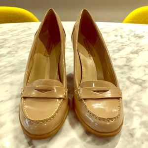 Patent Leather Stacked Wooden Heel Modern Loafers